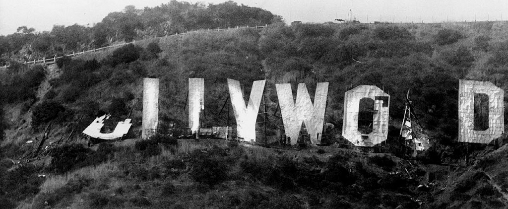 Hollywood sign falling down, ca. 1970s